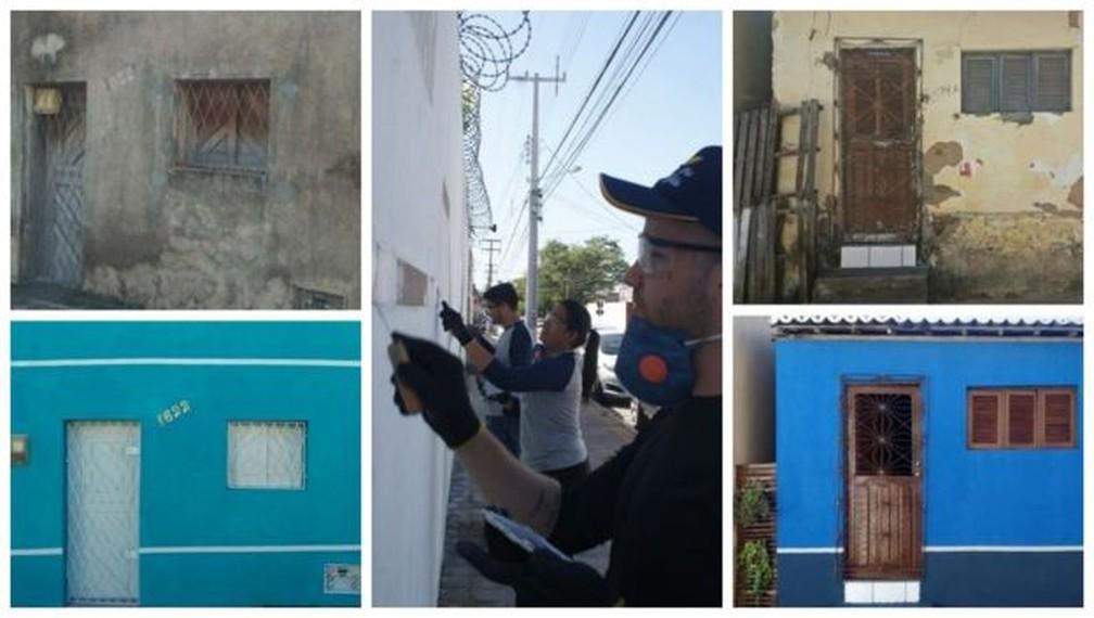 Casas escolhidas para reforma são encontradas pelos próprios voluntários andando pelas ruas ou por indicação de histórias no Instagram — Foto: Divulgação Reforamar/BBC