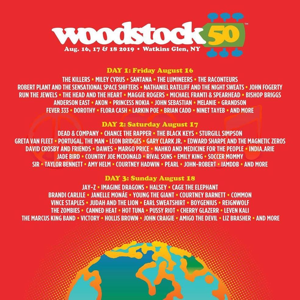 Woodstock 50 anos acontece em agosto, em Nova York — Foto: Reprodução/Instagram