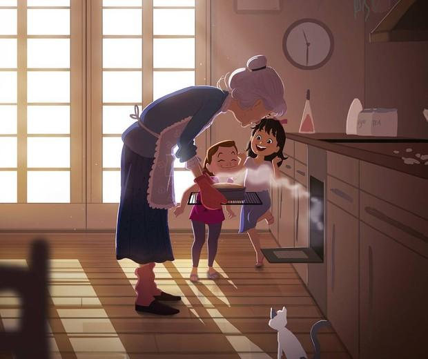 Crianças com a avó na cozinha (Foto: Reprodução/Instagram (@omario2d))