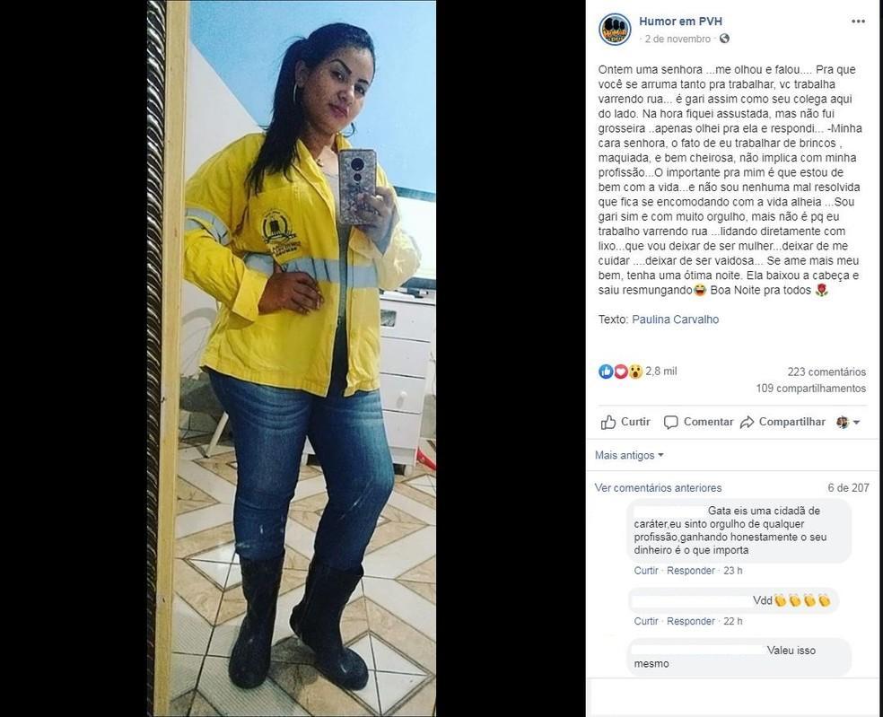 Gari de Porto Velho fala de profissão — Foto: Paulina Carvalho/ arquivo pessoal
