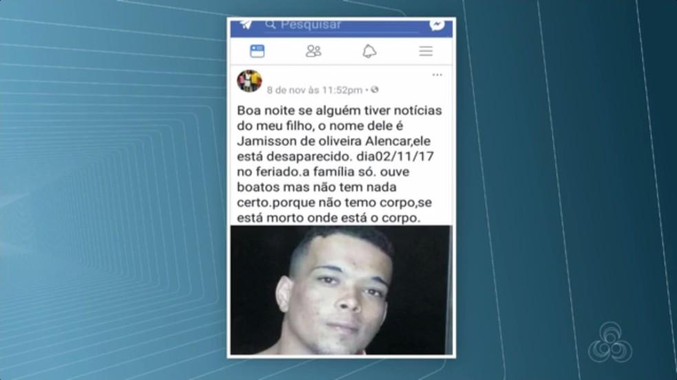 Vítima estava desaparecida desde 2 de novembro (Foto: Rede Amazônica/Reprodução)