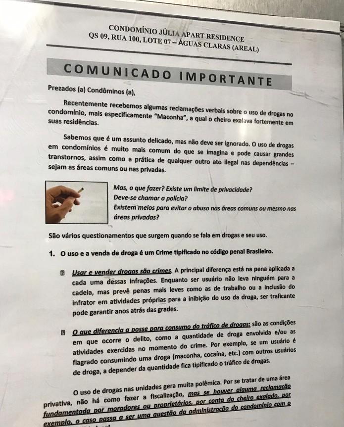 Comunicado publicado nas áreas comuns de um prédio residencial em Águas Claras — Foto: Arquivo pessoal