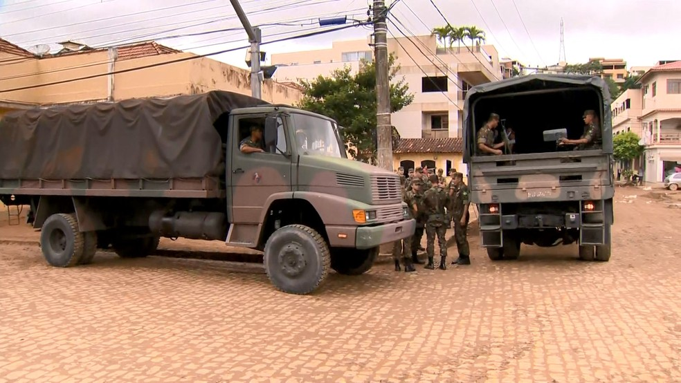 Chegada do Exército em Iconha nesta quinta-feira, 23 de janeiro de 2020 — Foto: Reprodução/TV Gazeta