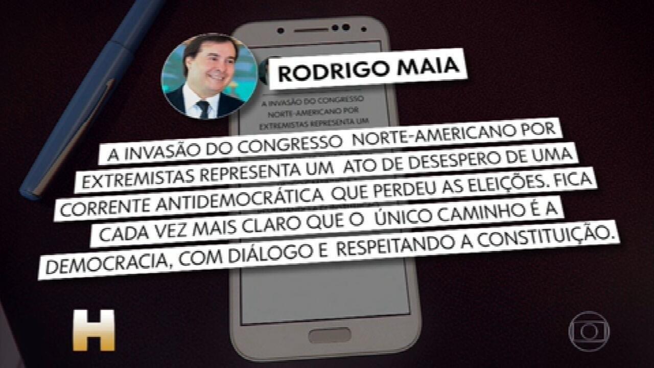 Invasão ao Congresso americano também repercutiu entres as autoridades brasileiras