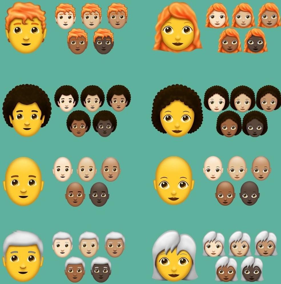 Novos emojis de pessoas terão cabelos ruivos, grisalhos e encaracolados (Foto: Reprodução/Emojipedia)