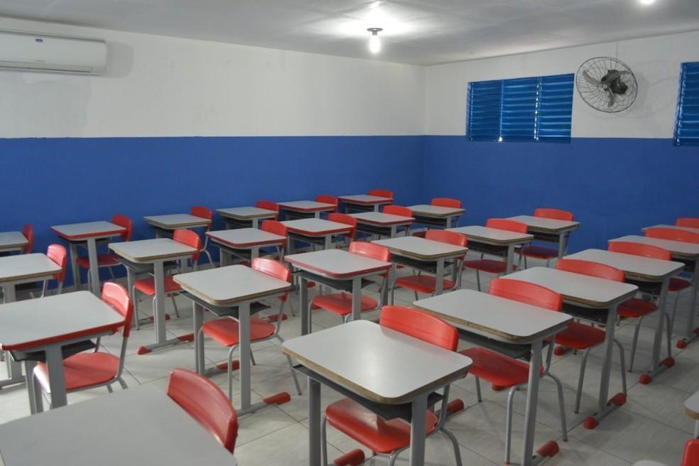 Sala de aula vazia em escola municipal de Patos, PB — Foto: Prefeitura de Patos/Divulgação