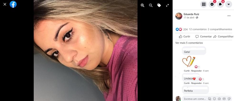 Eduarda Ruiz tinha 21 anos; corpo da jovem foi enterrado em Barra Bonita  — Foto: Facebook/ Reprodução
