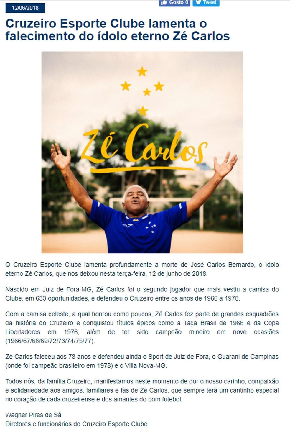 Publicação do Cruzeiro sobre a morte do ex-volante (Foto: Reprodução / site oficial do Cruzeiro)