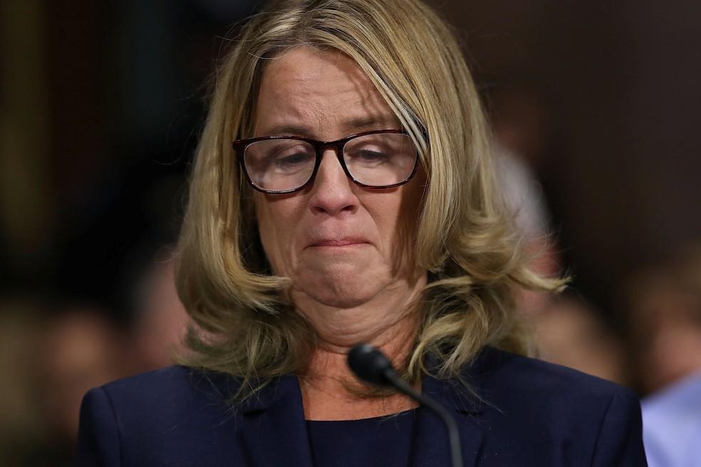 Christine Blasey Ford testemunha no Senado — Foto: Reuters/Win McNamee