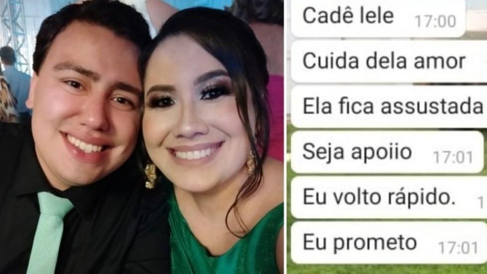 Pouco antes de ser intubada, a médica Monique Batista enviou mensagens ao noivo — Foto: Arquivo Pessoal
