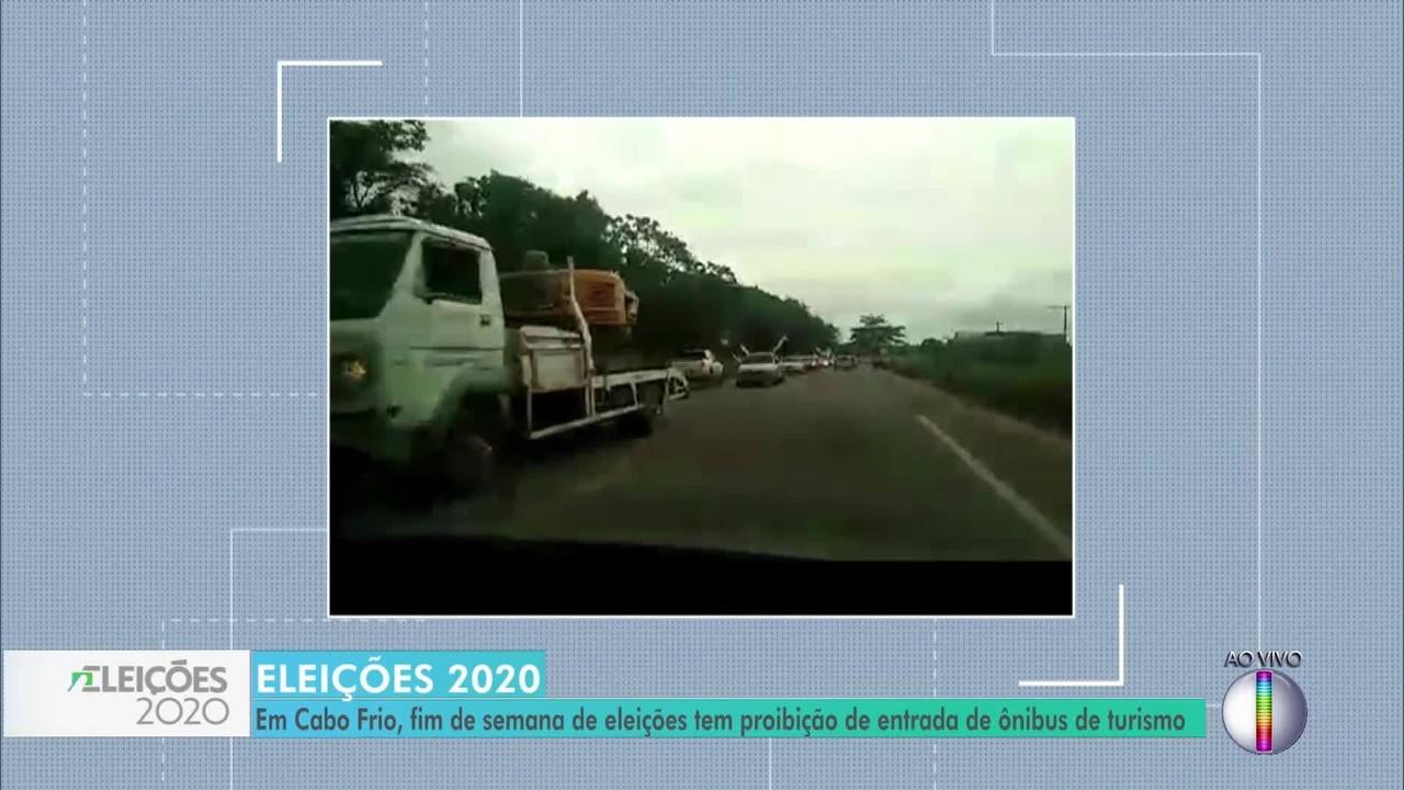 Ônibus de turismo estão proibidos de entrar em Cabo Frio, RJ, neste fim de semana