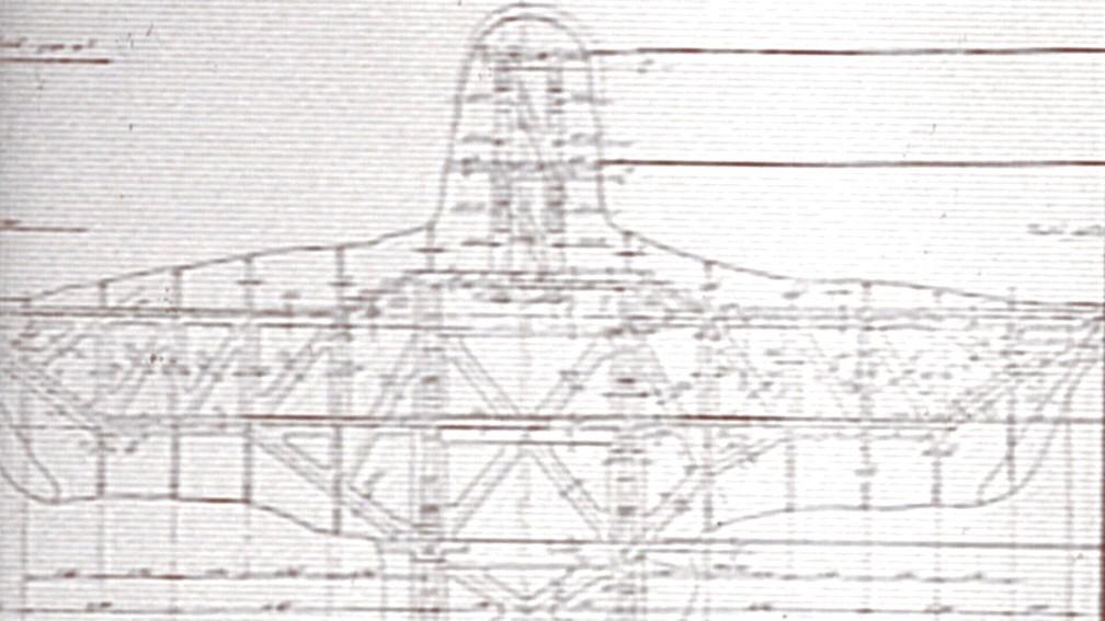 Plano de obra do Cristo Redentor: diagonais servem de reforço para as lajes, que equivalem a andares — Foto: Reprodução/TV Globo