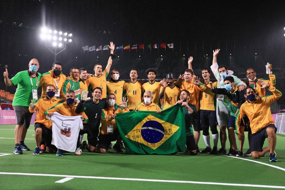 Brasil é pentacampeão no futebol de 5 nas Paralimpíadas — Foto: Buda Mendes/Getty Images