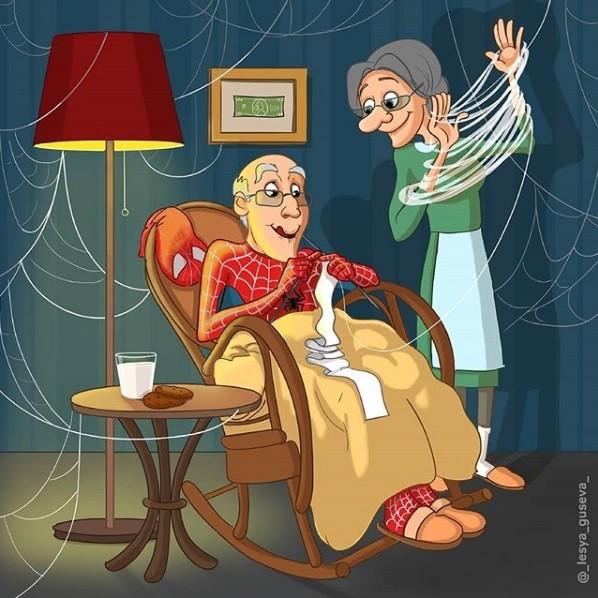 Ilustração do Homem Aranha envelhecido (Foto: Instagram/_lesya_guseva_)