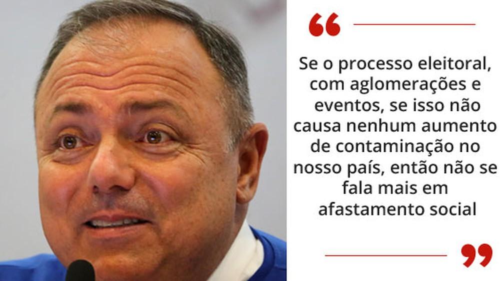 O ministro da Saúde, Eduardo Pazuello, sugeriu que a campanha eleitoral não provocou aumento de infecções pelo coronavírus — Foto: Fátima Meira/Futura Press/Estadão Conteúdo; Arte/G1