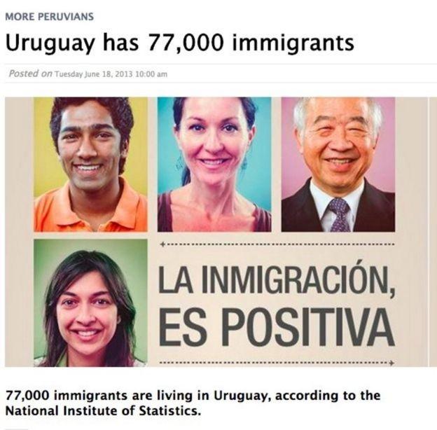 Sua imagem ligada à promoção de imigração no Uruguai (Foto: REPRODUÇÃO/Via BBC news Brasil)