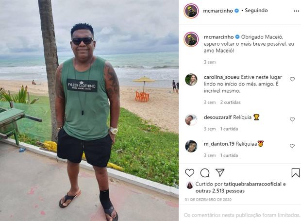 Último post de MC Marcinho antes da internação (Foto: Reprodução/Instagram)