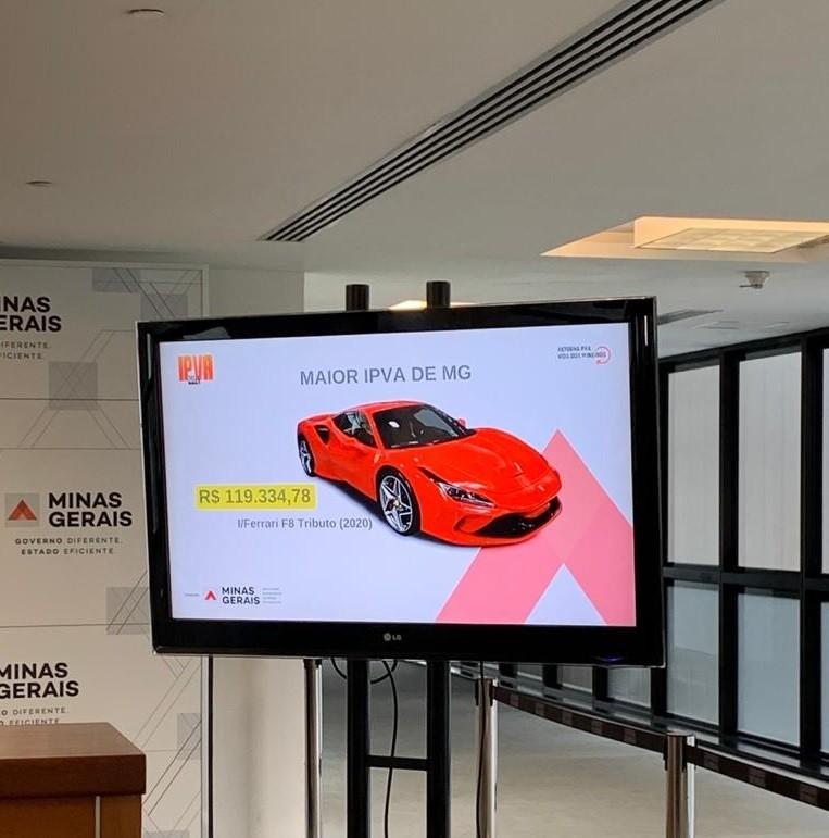 Governo de Minas divulga dados do IPVA 2021; imposto mais caro é de uma Ferrari: mais de R$119 mil