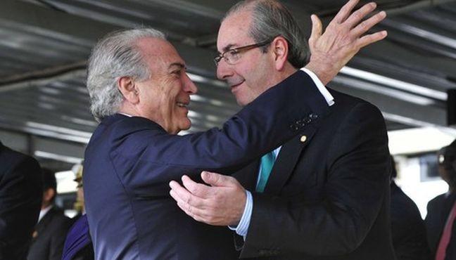 Michel Temer, presidente da república em exercício, e Eduardo Cunha, ex-presidente da Câmara dos Deputados (Foto: Divulgação)