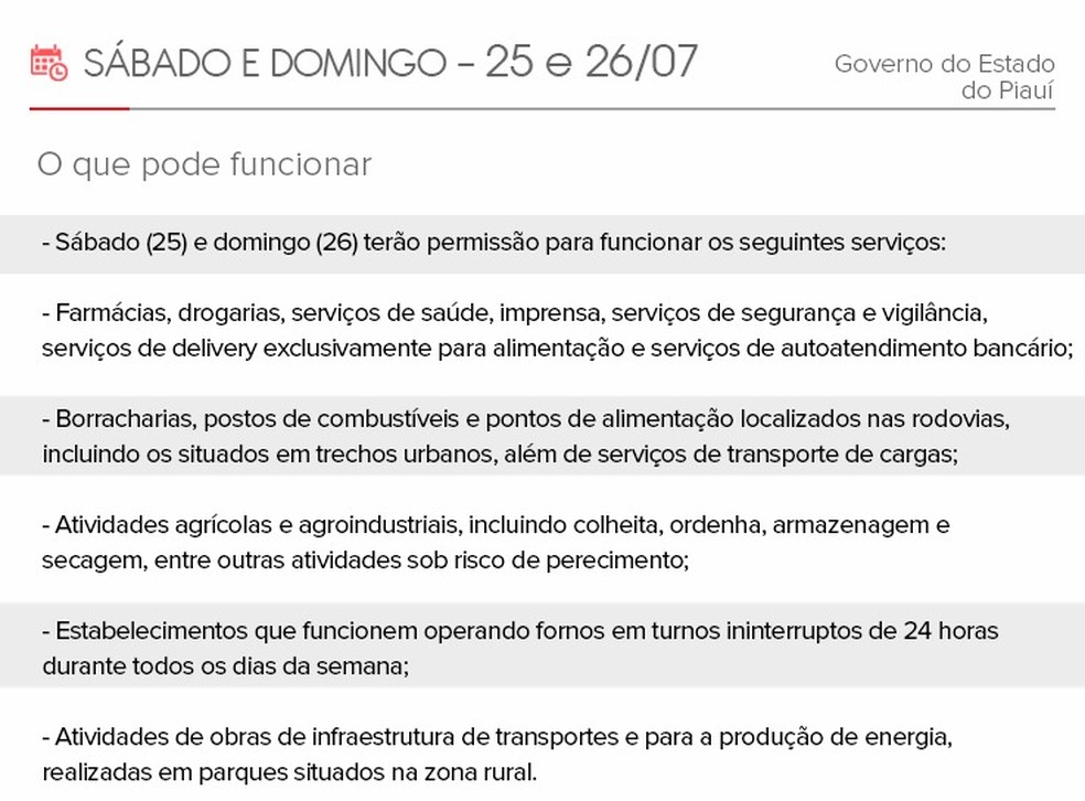 Funcionamento dos serviços no Piauí sábado e domingo — Foto: Adelmo Paixão/G1 PI