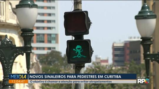 Semáforos de pedestres ganham personagem em campanha para evitar atropelamentos, em Curitiba