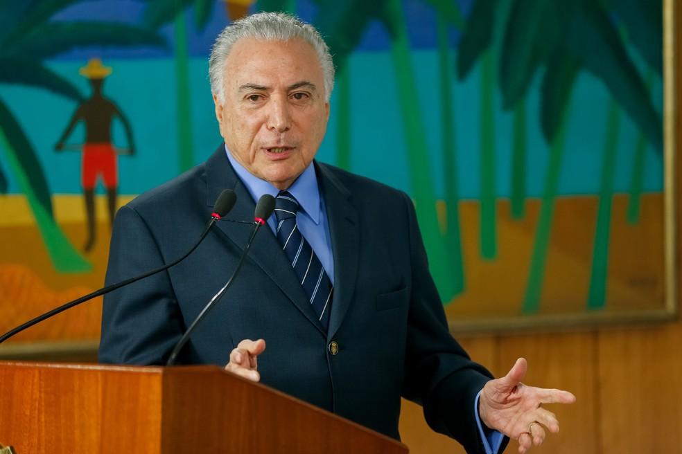 O presidente Michel Temer durante discurso em cerimônia no Palácio do Planalto no início deste mês. (Foto: Cesar Itiberê/Presidência da República)