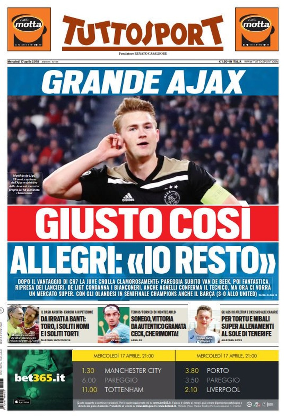 Manchete do Tuttosport após Juventus x Ajax — Foto: Reprodução / Twitter