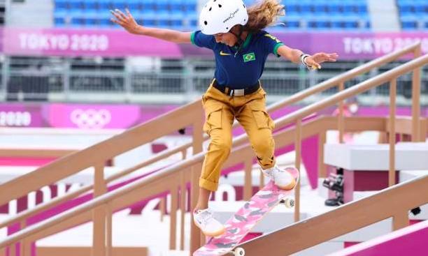 Rayssa Leal, durante a competição de skate street nos Jogos Olímpicos de Tóquio