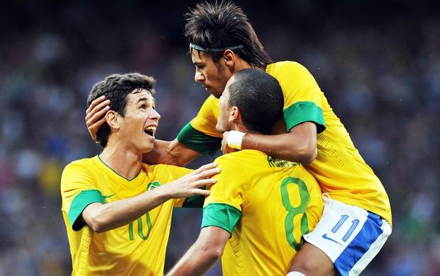 comemoração Brasil, Coreia do Sul x Brasil (Foto: Agência AFP)
