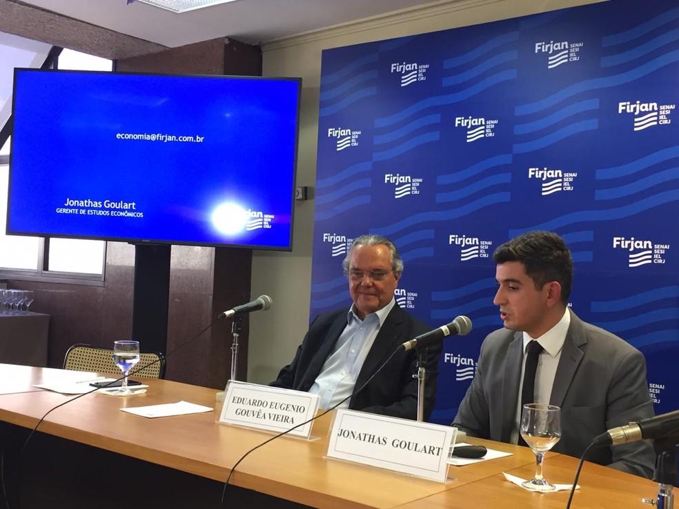 Eduardo Eugênio Gouvêa Vieira e Janathas Goulart falam sobre finanças estaduais — Foto: Daniel Silveira/G1