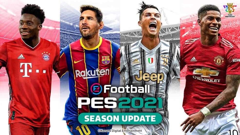Capa oficial do eFootball PES 2021 Season Update — Foto: Divulgação / Konami