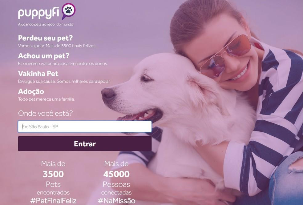 Página inicial da rede social Puppyfi, que começou a funcionar em fevereiro (Foto: Reprodução/Puppyfi)