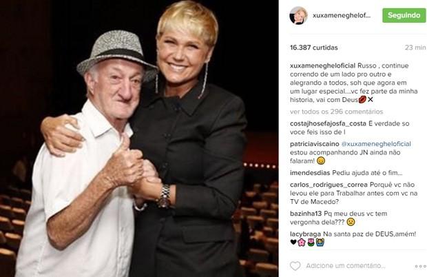 Xuxa lamenta morte de Russo (Foto: Reprodução)