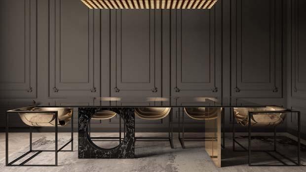 Designer lança coleção de móveis que combina latão e mármore