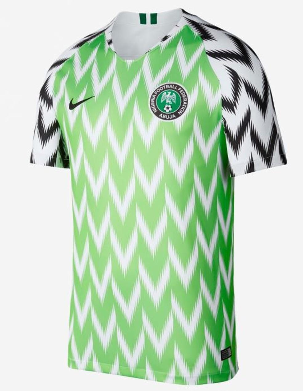 Camisa da Nigéria foi eleita a mais bonita da década por site especializado — Foto: Reprodução