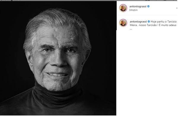 Antonio Grassi mencionou o apelido do ator em seu adeus (Foto: Reprodução)