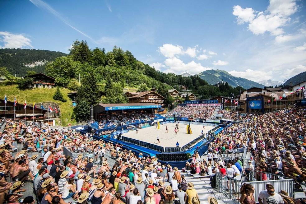 Arena montada em Gstaad, na Suíça — Foto: Divulgação/FIVB