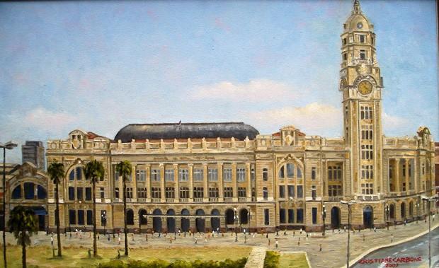 Pintura retratando a Estação Júlio Prestes, da artista plástica Cristiane Carbone, feita em óleo sobre tela (Foto: Divulgação)
