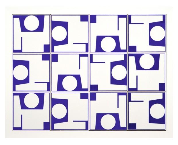 Quadro com 12 azulejos da Sede Social do Clube do Congresso, 70 x 55 cm, de Athos Bulcão. Fundação Athos Bulcão, R$ 871 (Foto: Divulgação)