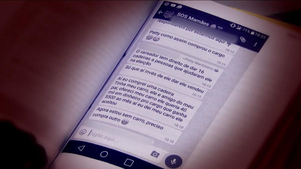Em grupo de whatsapp, funcionária disse que comprou cargo em secretaria de São Bernardo do Campo (Foto: TV Globo/Reprodução)