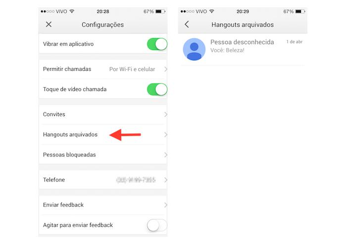 Acessando conversas arquivadas no Hangouts para iOS (Foto: Reprodução/Marvin Costa)