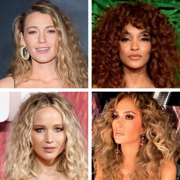 No sentido horário: Blake Lively, Jourdan Dunn, J.Lo e Jennifer Lawrence (Foto: Gui Paganini / Arquivo Vogue, Getty Images e Divulgação)