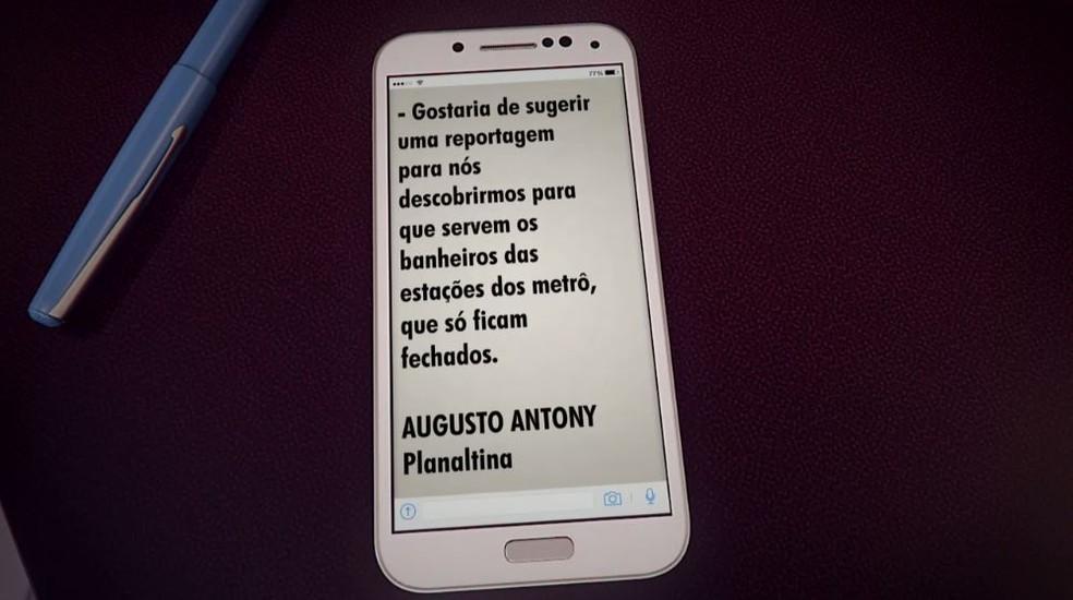 Sugestão de passageiro para mostrar falta de banheiro no Metrô (Foto: TV Globo/Reprodução)