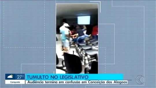 Vídeo mostra confusão durante audiência pública na Câmara de Vereadores de Conceição das Alagoas