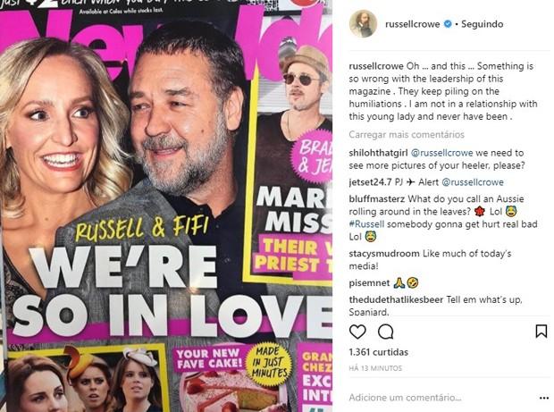 Russell Crowe desmente namoro com Fifi Box (Foto: Reprodução/Instagram)