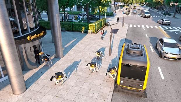 Cachorro robô são aposta para agilizar entrega nas cidades inteligentes do futuro (Foto: Divulgação/Continental )