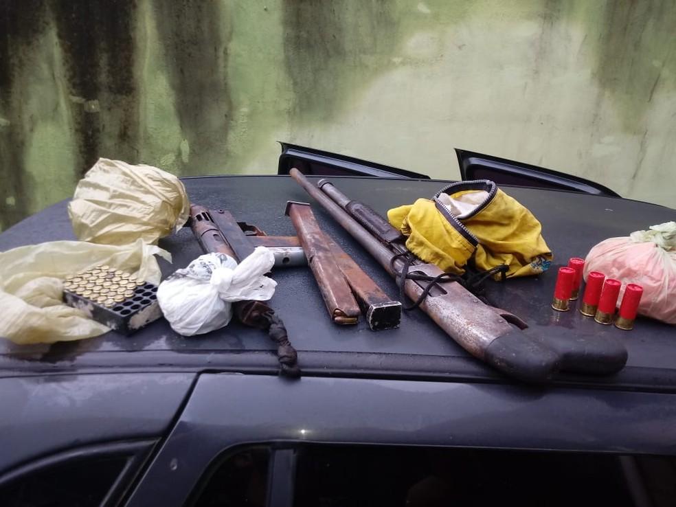 Armas e munição foram apreendidas na operação Dínamo — Foto: Divulgação/PF