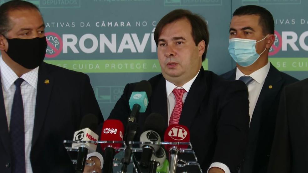 O presidente da Câmara, Rodrigo Maia. — Foto: GloboNews/Reprodução
