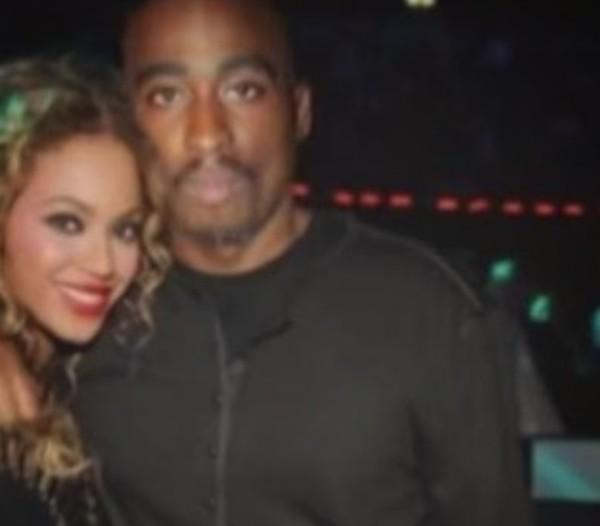 Uma foto que mostra o suposto encontro de Tupac Shakur com a cantora Beyoncé (Foto: Instagram)