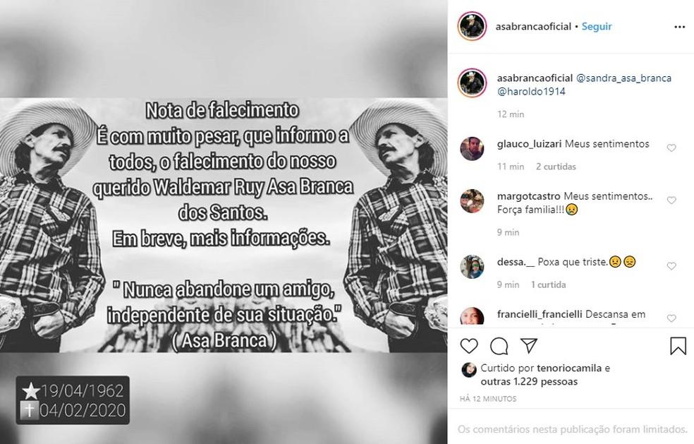 Post oficial sobre a morte de Asa Branca no Instagram — Foto: Reprodução/Rede Social
